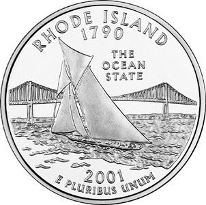 """Rhode Island State Quarter.  Rhode Island became the 13th state in 1790.   Rhode Island's state quarter features nickname """"The Ocean State"""" with America's Cup yacht Reliance on Narragansett Bay, and Pell Bridge."""