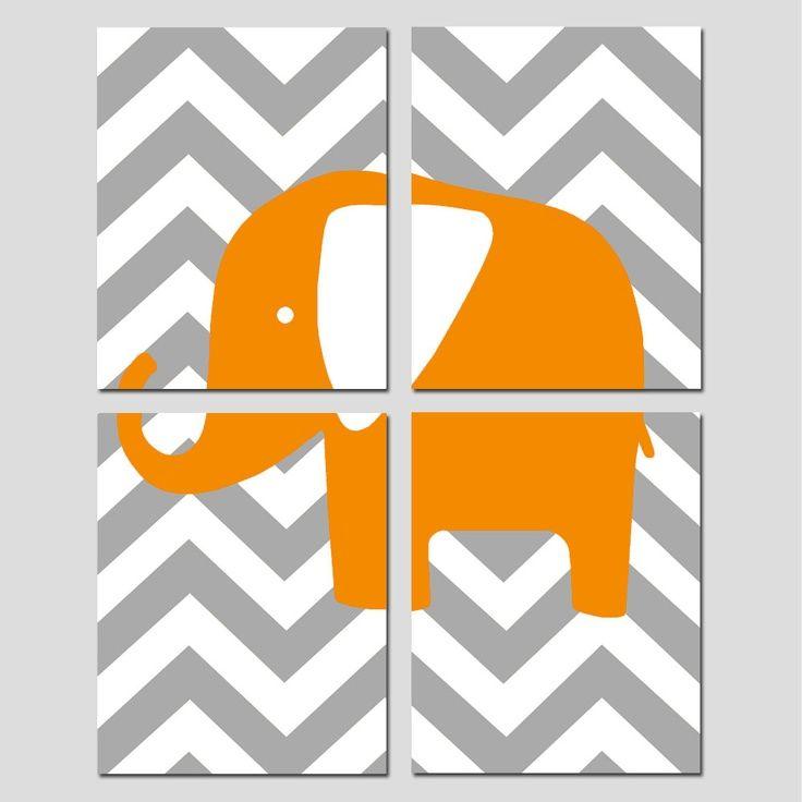 Modern Nursery Quad - Set of Four 8x10 Prints - Chevron Elephant - Yellow, Gray, Orange, Hot Pink, Navy Blue, and More