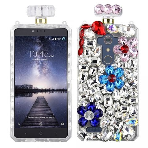 ZTE Z Max Pro (MetroPCS) / Grand X Max 2 (Cricket)/ Blade X Max/ Max XL - Premium Clear TPU Perfume Bottle Shape Case with Blue and Pink Rhinestone Flowers and Crystal Rock Embellishment in Premium Box Packaging