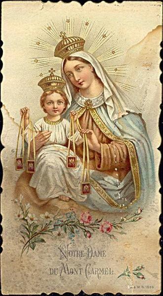 Holy card de Nossa Senhora do Carmo (bem tradicional).