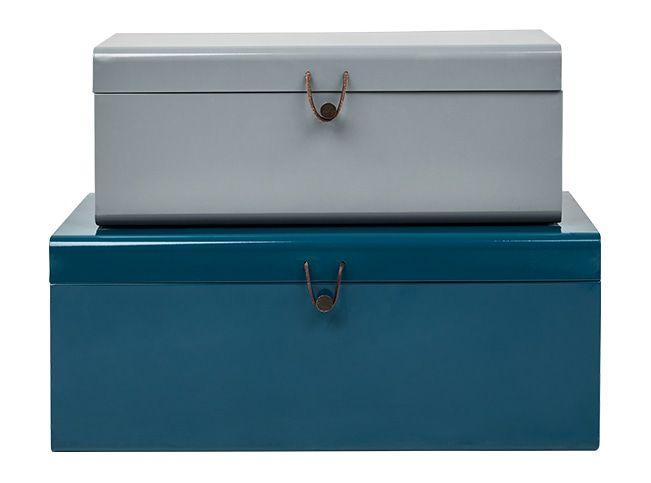 Daven Set Of 2 Metal Storage Box Trunks Teal And Grey Metal