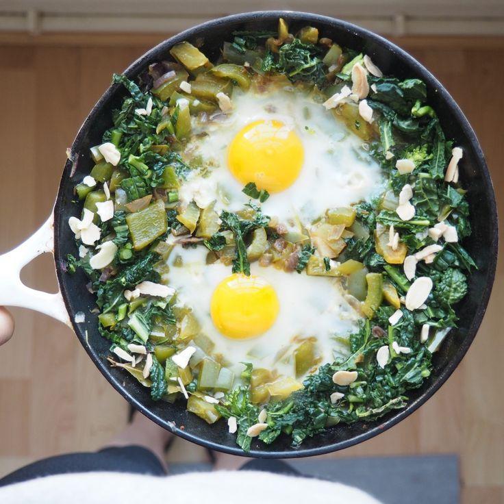 Green Shakshuka --- recipe variant using kale, green peppers & herbs.