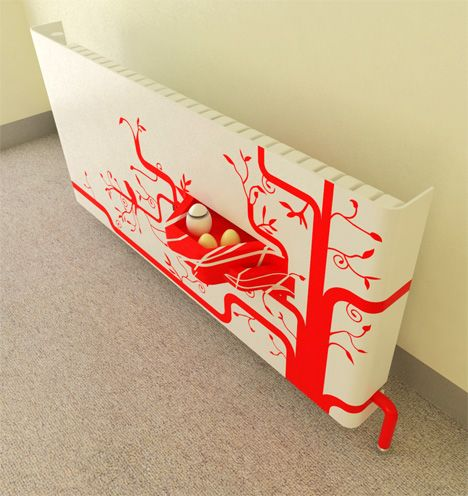 A bright and funky painted radiator cover can conceal old, tired radiators and makes a great feature!