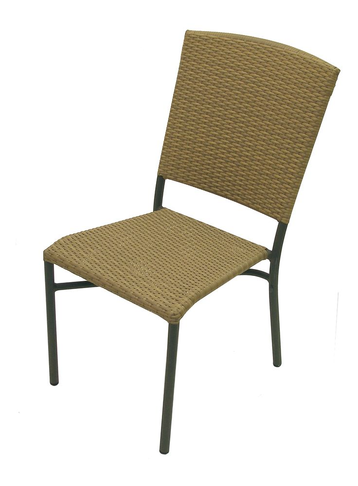 American Trading Company Aruba II All-Weather Wicker Stackable Side Chair with Black Pepper Aluminum Frame.