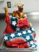 Custom Deer and Rebel Flag cakes-3 Sisters Chocolate Bakery