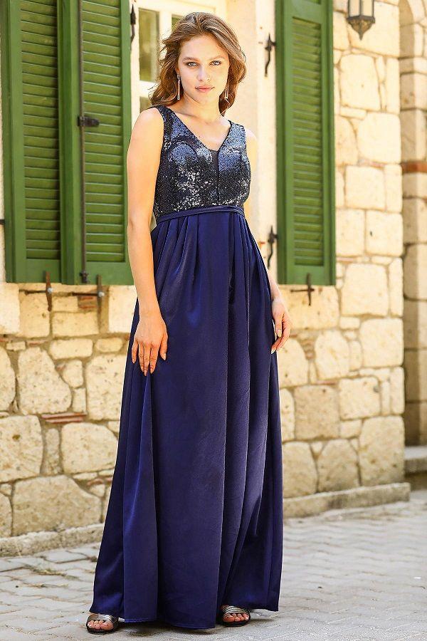 فستان سهرة كحلي بجزء علوي ترتر Long Black Evening Dress Velvet Dress Short Green Evening Dress