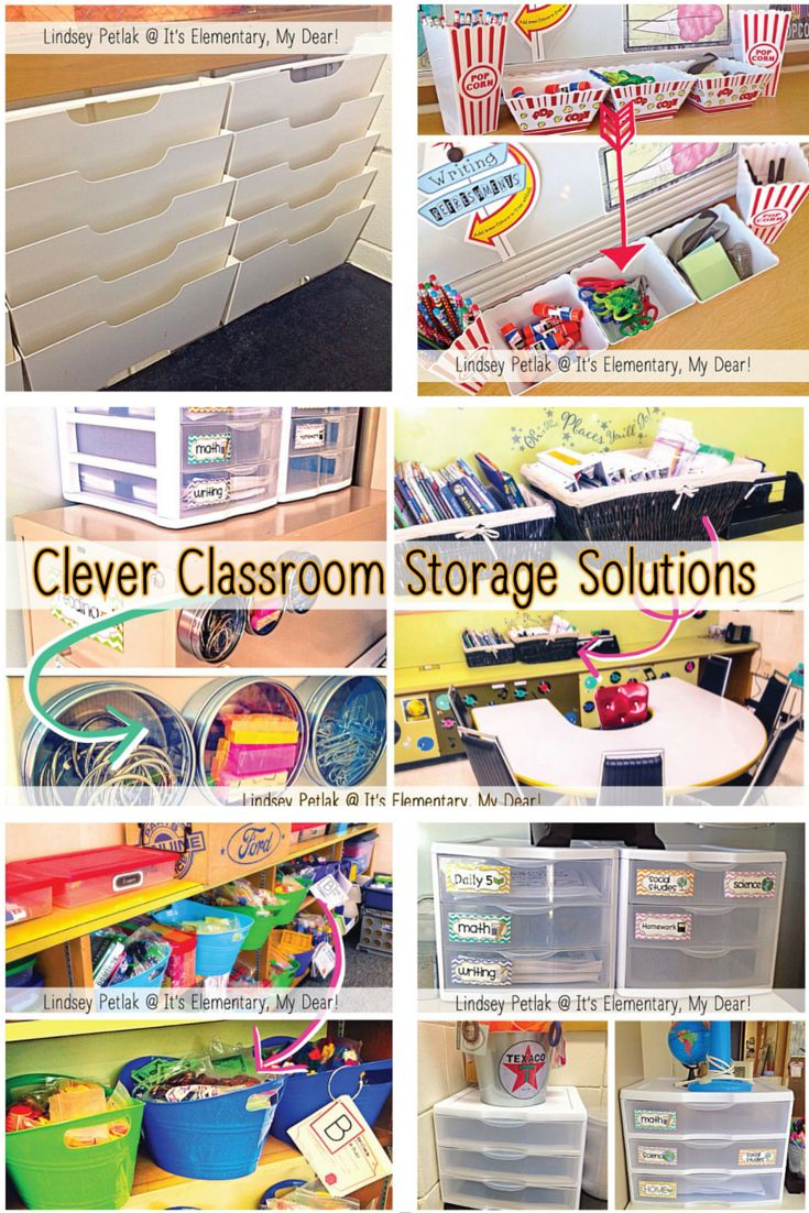 GET ORGANIZED for Back to School! Read to learn clever classroom storage solutions using Dollar Tree & thrift store finds, new uses for kitchen items, and other simple classroom organization tricks! Lindsey Petlak @ It's Elementary, My Dear!