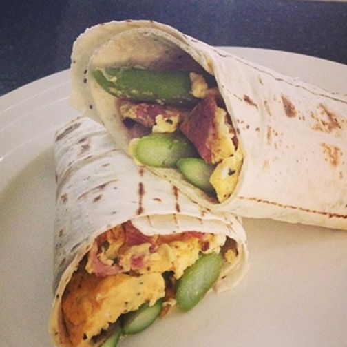 Asparagus bacon & egg wrap made with Gerry's Wonder Wrap by Facebooker FlabULess NZ - yum! Weight watchers - that's 7pp.