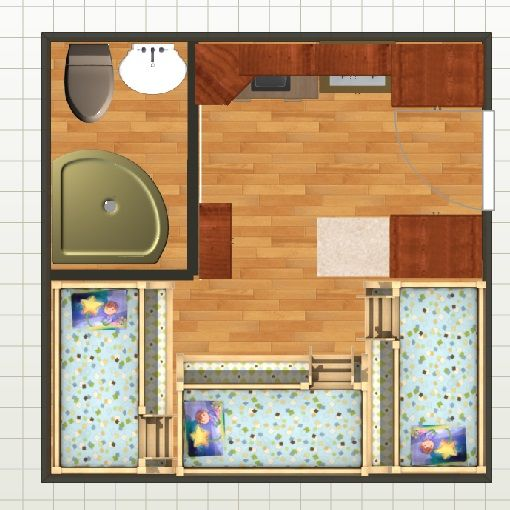 14x14 Storm Shelter Plan. Bathroom, Kitchette, Sleeps (10)