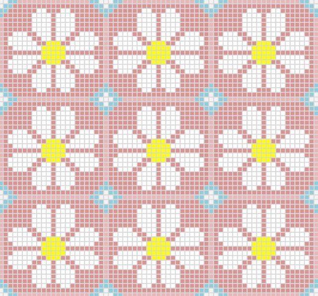 Floral mosaic perler bead pattern