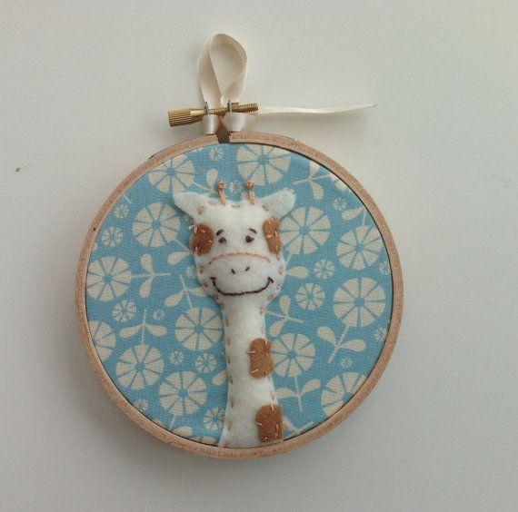 Giraffe nursery / playroom art.  4 childrens hoop art.