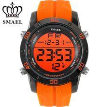 2017 Fashion Cool Orange Men Quartz Watches Enthusiasm Vigour Sport Wristwatch LED Multifunctional Relogio Masculino SMAEL 1145