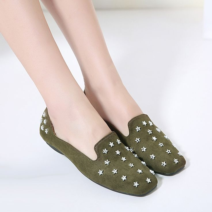 21.50$  Buy here - http://aliwfa.shopchina.info/1/go.php?t=32792736420 - Superstar shoes 2017 Spring new fashion rivets Star ballet flats ladies shoes casual Square head slip on shoes flat shoes women  21.50$ #shopstyle