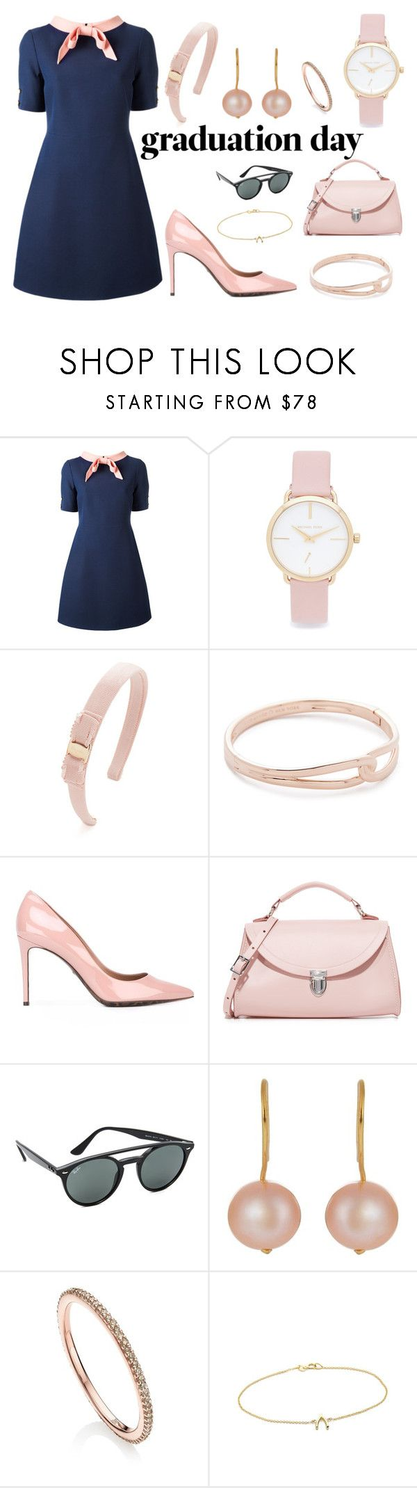 """Graduation Day"" by camry-brynn ❤ liked on Polyvore featuring Gucci, Michael Kors, Salvatore Ferragamo, Kate Spade, Dolce&Gabbana, The Cambridge Satchel Company, Ray-Ban, Aurélie Bidermann, Monica Vinader and Jennifer Meyer Jewelry"