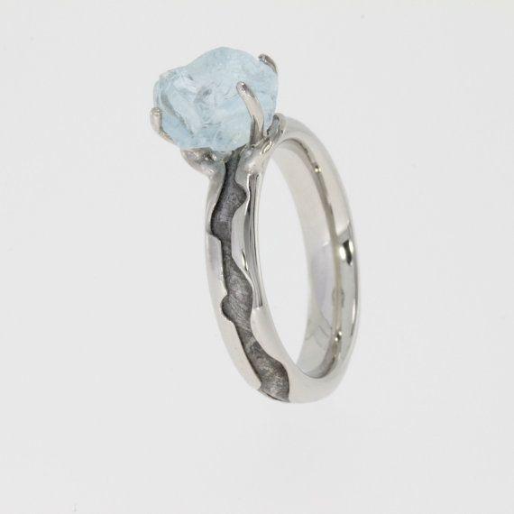 Uncut aquamarine stone with meteorite inlaid into the band! Meteorite  Engagement RingMeteorite ...