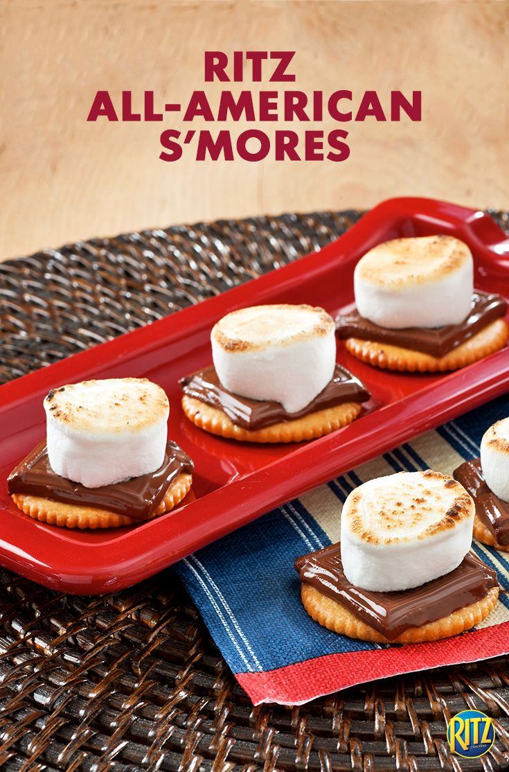 RITZ cracker S'mores bring a rich, salty flavor to this All-American dessert! Serve them up on game day for a #TeamSweet touchdown. Just top a RITZ cracker with a piece of chocolate and a large marshmallow. Toast marshmallow halves with a kitchen torch and let stand 1 to 2 min. until chocolate begins to melt.