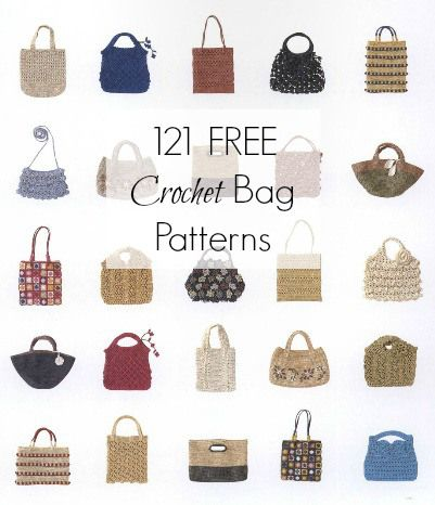 121 Crochet Bag Patterns FREE                                                                                                                                                     More