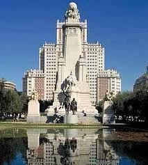 Plaza Espana in Madrid Spain:  Miguel de Cervantes Saavedra; Beautiful !