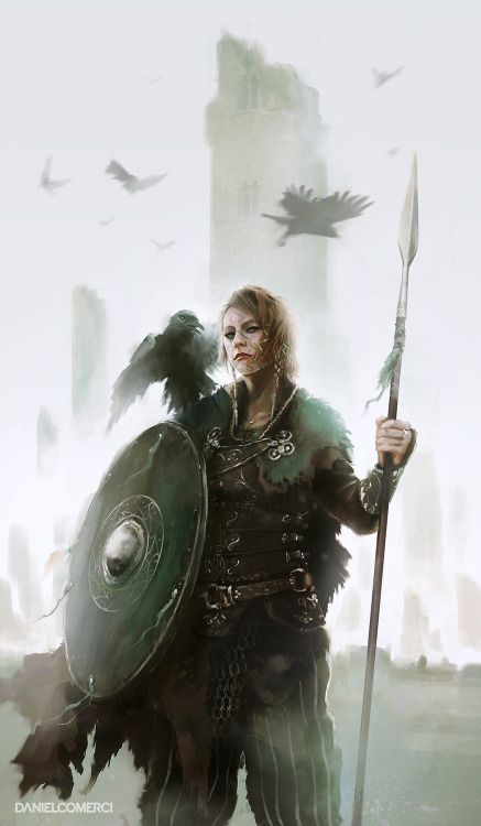 "heroineimages: "" foxy-nerdy: ""Kalinnen Shield Maiden by Daniel Comerci "" @we-are-viking You were looking for shieldmaidens earlier? """