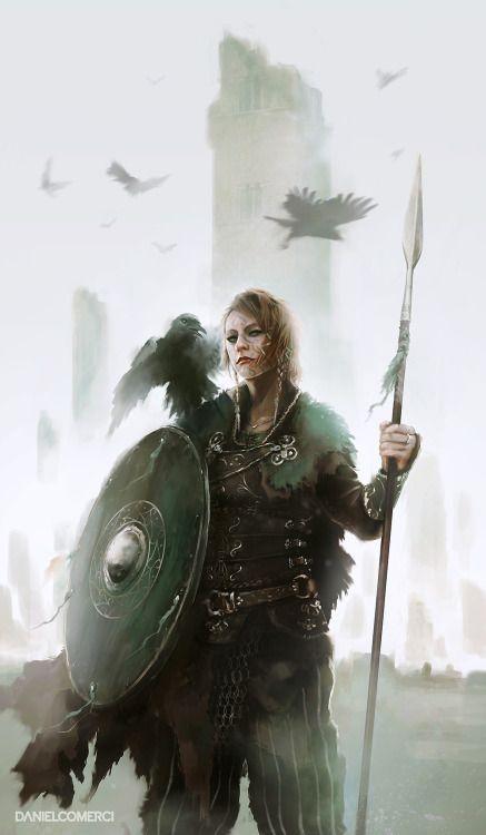 "heroineimages: "" foxy-nerdy: ""Kalinnen Shield Maiden by Daniel Comerci "" @we-are-viking You were looking for shieldmaidens earlier? """