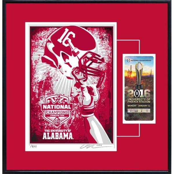 Alabama Crimson Tide College Football Playoff 2015 National Champions Serigraph Ticket Frame - $129.99