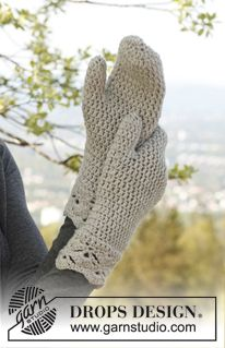 "Set consist of: Crochet DROPS hat, neck warmer and mittens with fan pattern in ""Merino Extra Fine"". ~ DROPS Design"