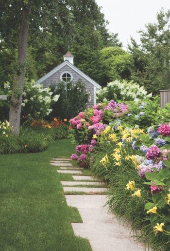 Hydrangeas, Daylilies and White Lilacs