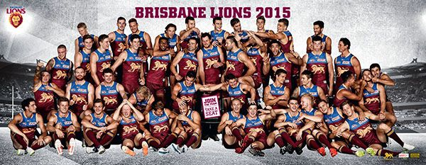 Team photo wall at the Gabba for fans to get a Brisbane Lions pic