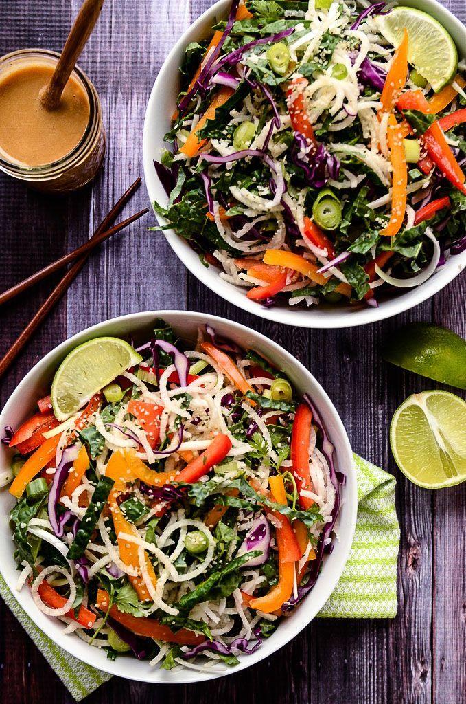 Colorful Jicama Noodle Salad with Creamy Tahini-Ginger Dressing   Vegan + Gluten-Free