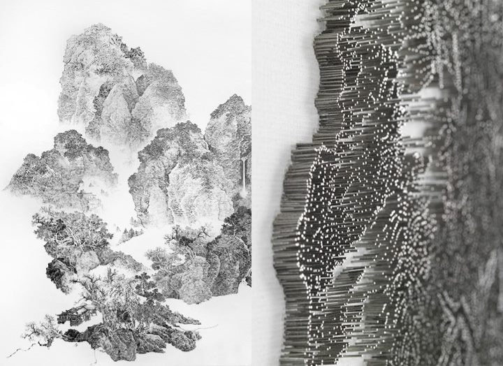 20 best chen chun hao images on pinterest chen chinese painting chinese landscape artists use ink on paper however taiwanese artist chen chun hao has turned the process upside down opting for a noisy nail gun and prinsesfo Image collections