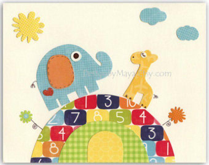Baby Room decor, Nursery Art Decor, Kids Print, baby birds... Rainbow series Friends on the hill