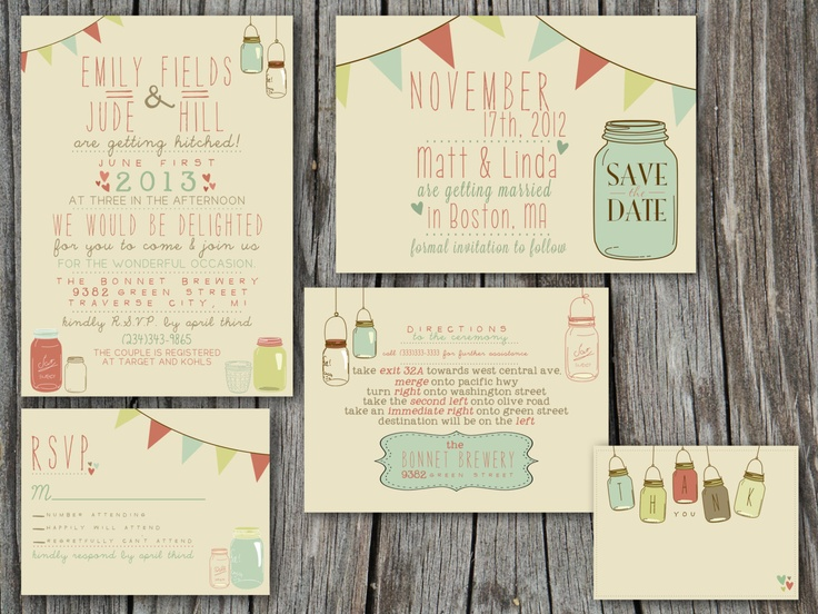 Wedding Invitation Suite Set - Printable, Custom, DIY - VINTAGE, RUSTIC. $55.00, via Etsy.
