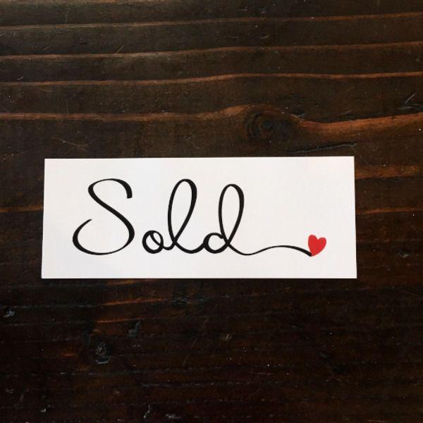 MINI Sold sticker - Cursive w heart