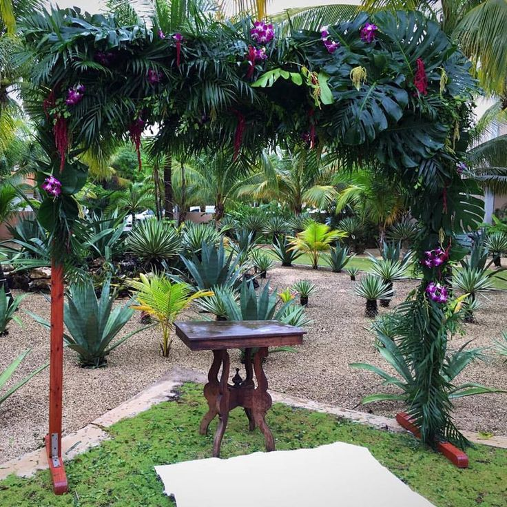 Altars Canopies Arbors Arches: CBG199 Weddings Riviera Maya Greenery Arch With Some