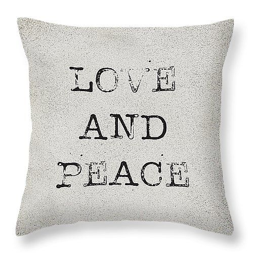 """Love and Peace 14"""" x 14"""" Throw Pillow by Kathleen Wong.  Our throw pillows are made from 100% cotton fabric and add a stylish statement to any room.  Pillows are available in sizes from 14"""" x 14"""" up to 26"""" x 26"""".  Each pillow is printed on both sides (same image) and includes a concealed zipper and removable insert (if selected) for easy cleaning."""