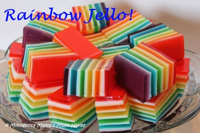 Rainbow Jello - Use red, white and blue instead to make 4th of July Jello!