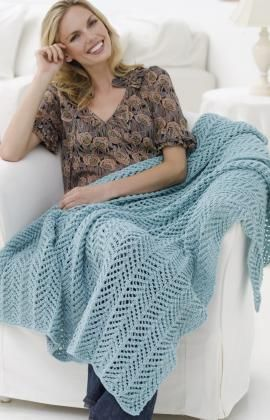 Arrowhead Lace Throw Knitting Pattern free from Red Heart