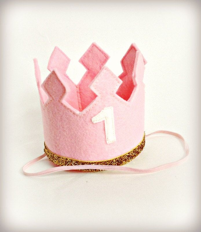 Birthday Crown Pink Felt Crown Headband LARGE Gold Glitter - Any Age Number. $21.00, via Etsy.