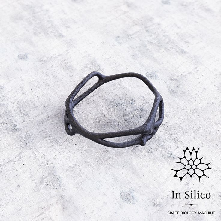 'Phenotype' ring. Bone structure inspiration, 3d printing, black steel. More info on our site: insilico.pl #minimal #3dprint #jewelry #generativedesign #design #ring