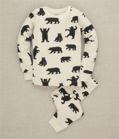 Hatley Store: Hatley Black Bears on Natural Kids' Overall Print Pajama Set