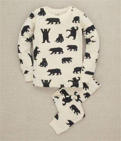 Hatley Store: Hatley Black Bears on Natural Kids' Overall Print Pajama Set