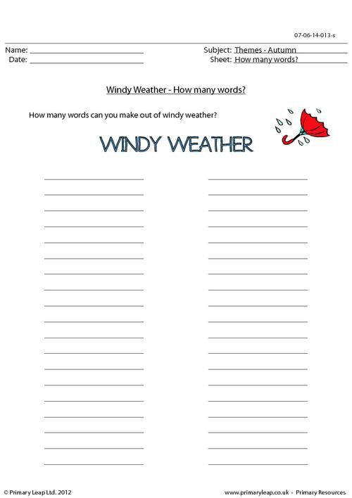autumn word unscramble windy weather worksheet holiday printable. Black Bedroom Furniture Sets. Home Design Ideas