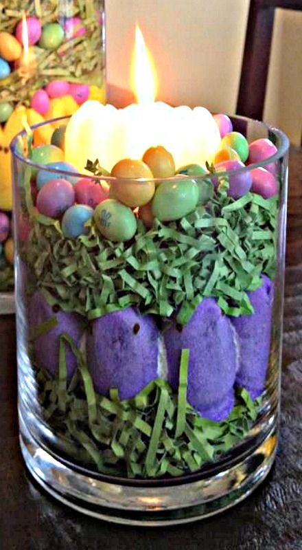 Peeps Easter Candle - I would be sure to use a glass votive inside another glass to prevent the grass from catching on fire