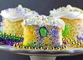 A king cake + jelly shots + baby Gusher