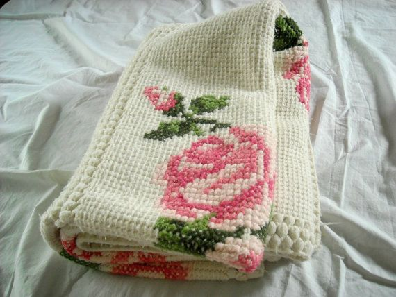 This vintage #crochet afghan has cross stitch roses.