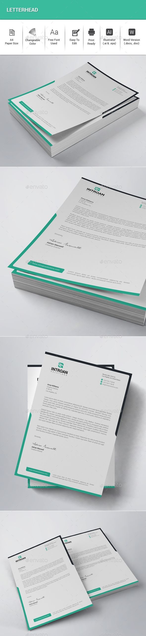 Letterhead Template Vector EPS, AI Illustrator, MS Word