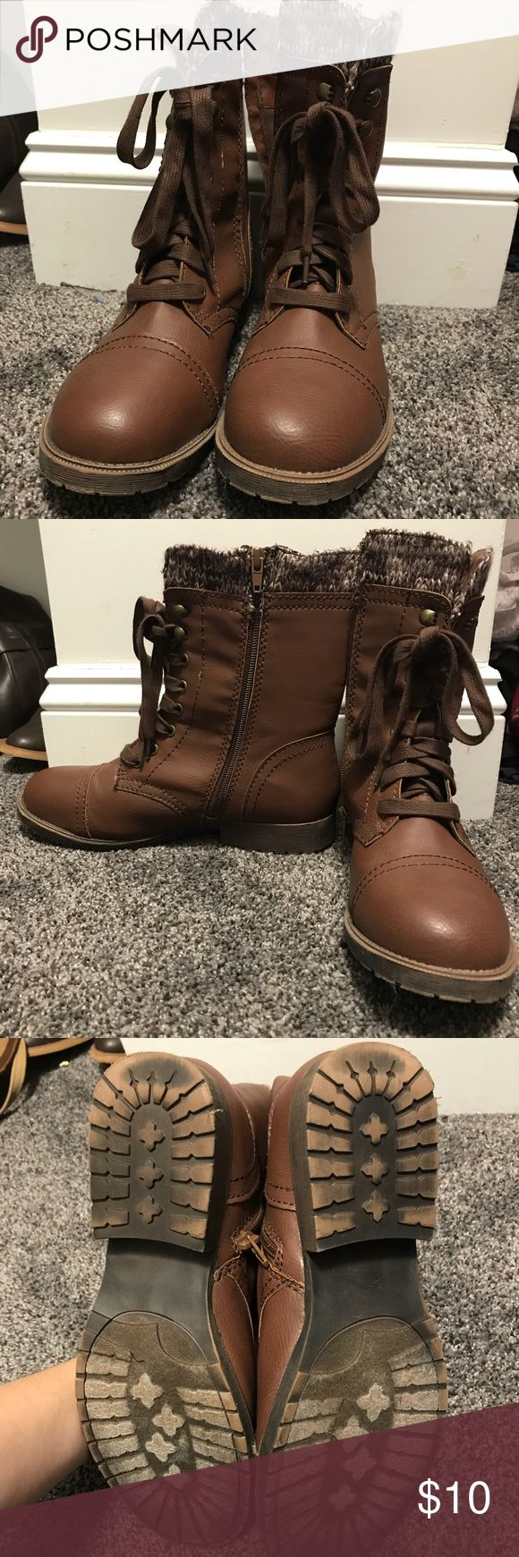 Brown zip up combat boots Size 8 brown zip up combat boots. Rarely worn. Very chic and perfect for a fall outfit. Shoes Combat & Moto Boots