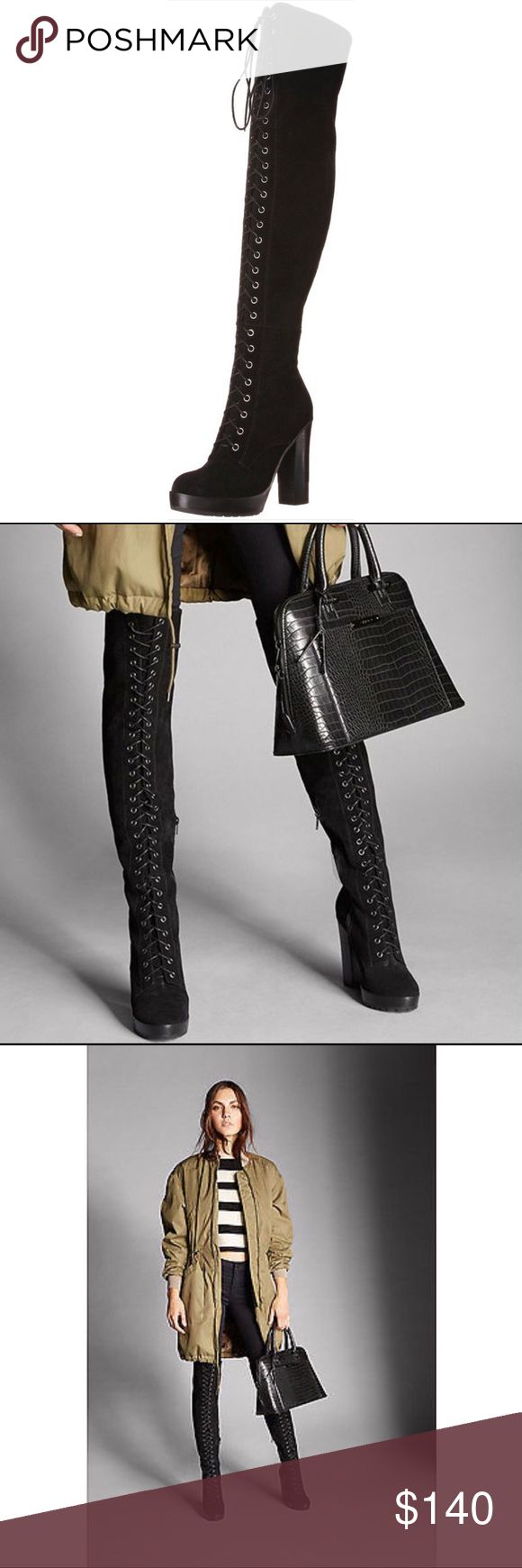 ALDO  Thigh High  Boots Sexy Corset Laceup Suede Thigh High Over Knee Boots from Aldo. ✨New✨ Aldo Shoes Over the Knee Boots