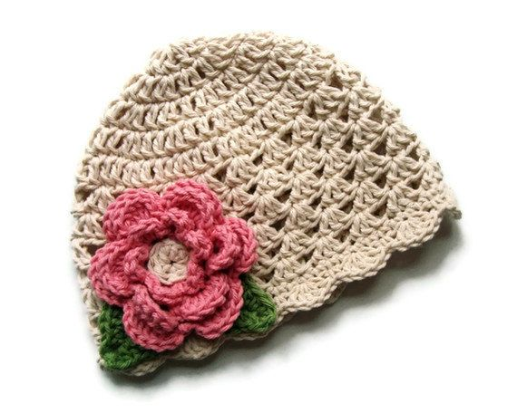 Crochet baby Hat with Flower, Girls Crochet Summer Hat, Ecru with rose flower, sage green leaves-MADE TO ORDER