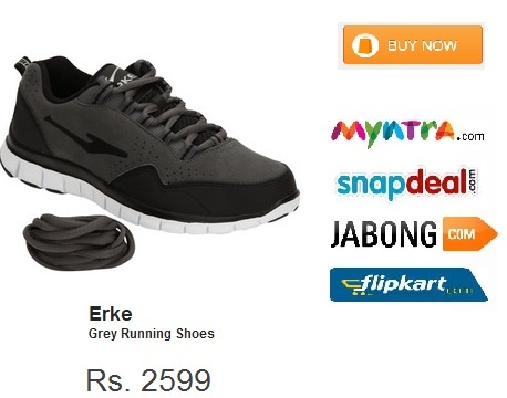 Grey coloured #running #shoes for #men by #Erke India These running shoes have non-leather upper and lining with a rubber sole. These lace-ups have a round toe.